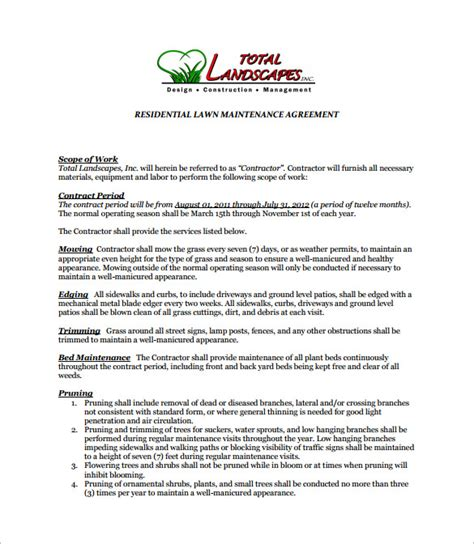 lawn care contract template 9 lawn service contract templates free word pdf