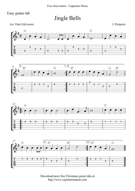 Wedding Bell Tab Pdf by Jingle Bells Free Guitar Tabs And Sheet