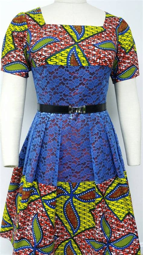 lace african print dress pinterest dutch wax and lace fitted waistline dress by nanayahstudio