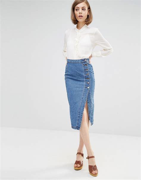 Denim Pencil Mini Skirt shoptagr lost ink denim pencil skirt with side button