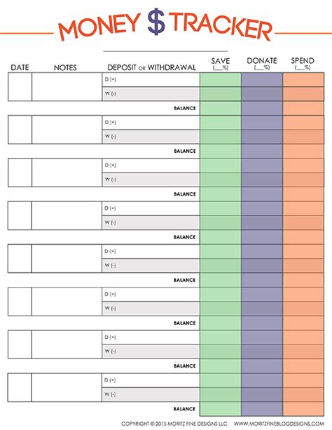 money tracking template money tracker for free printable included