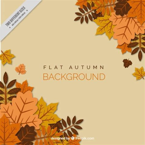 autumn leaves flat style background vector free download