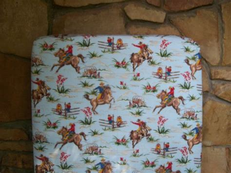 vintage cowboy crib bedding custom crib sheet horses and cowboys baby bedding blue brown retro western barn dandy gift