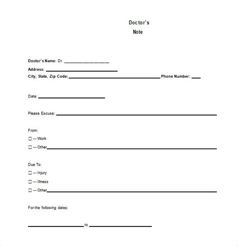 doctors note template 8 free word excel pdf format
