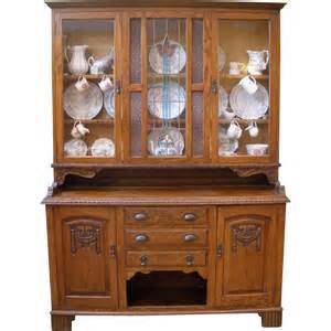 large antique china cabinet carved oak stained