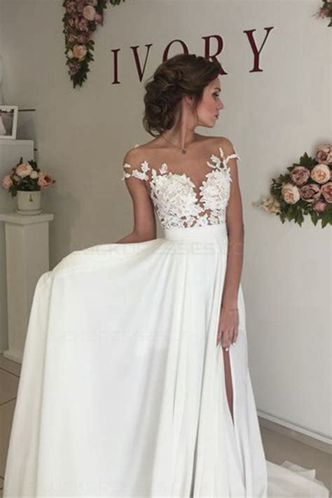 Chiffon Lace Dress illusion bodice lace chiffon wedding dresses
