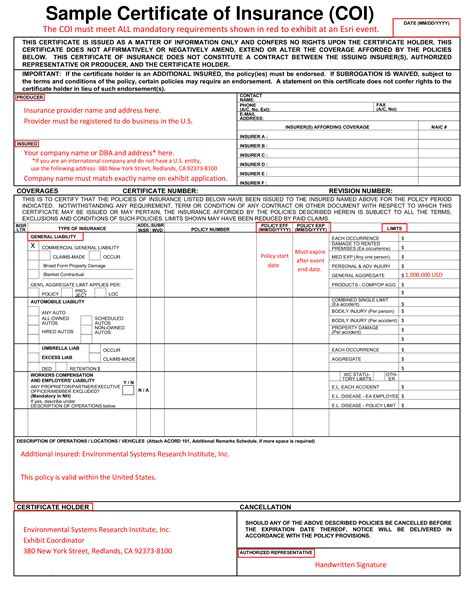 certificate of insurance template free sle certificate of insurance coi templates at