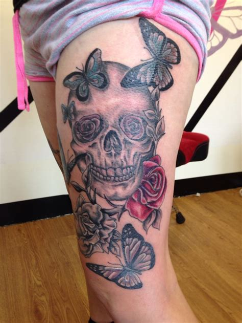 skull butterfly rose tattoo skull and roses with butterfly