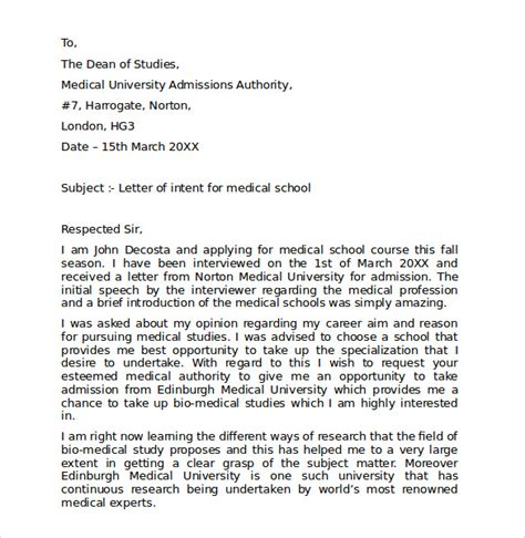 Letter Of Intent Residency Exle Letter Of Intent School 7 Free Sles Exles Formats