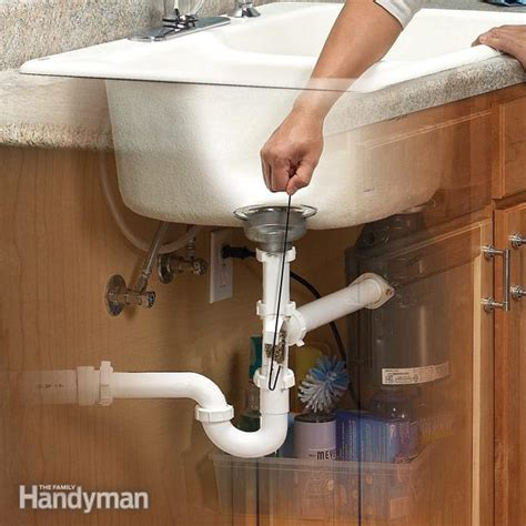 how to snake bathroom sink unclog a kitchen sink family handyman