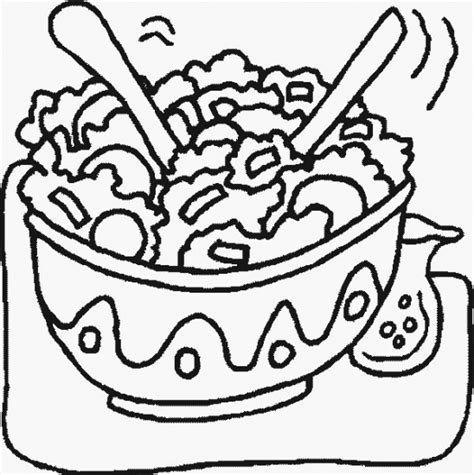 Salad Bowl Coloring Page | salad free coloring pages