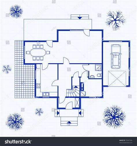 house design blueprints house blueprint exterior interior vector illustration