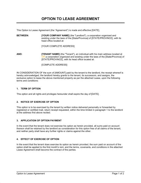 Option To Lease Agreement Template Word Pdf By Business In A Box Lease Option Template