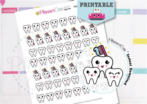 printable tooth stickers dentist printable kawaii planner stickers k022 partymazing