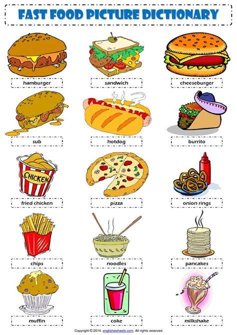 1951 free esl food worksheets vocabulary fast food ingl 233 s idioma y