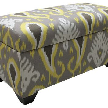 yellow and gray ottoman arthur storage ottoman gray yellow ikat from one kings lane