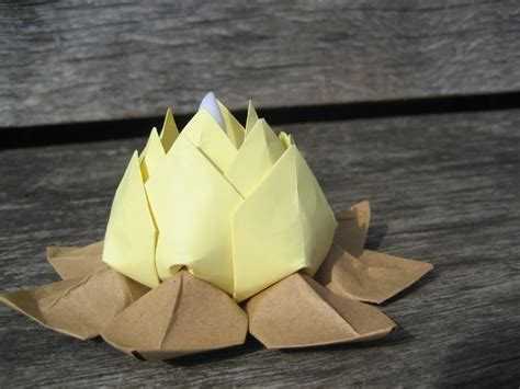 Origami Candle - tealight candle holder origami lotus flower with led
