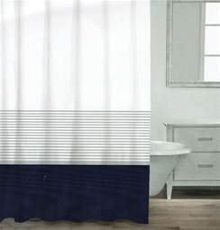 Navy And Silver Curtains Caro Home Cotton Shower Curtain Wide Stripe Navy Blue