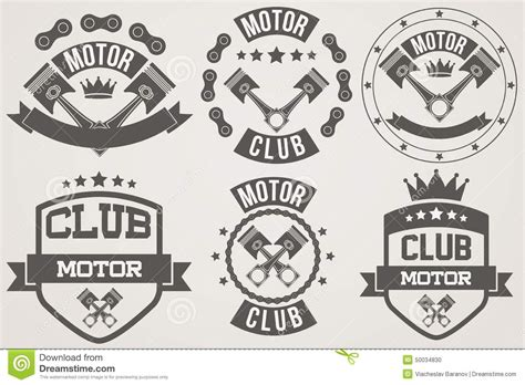 design id card club motor set of vintage motor club signs and label stock vector