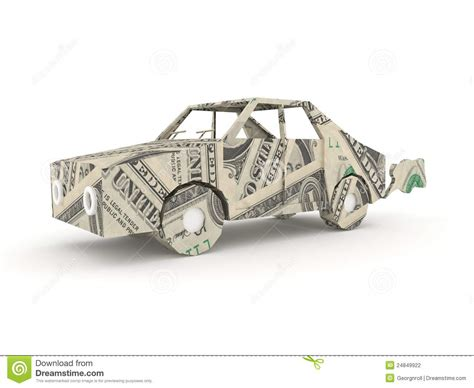Origami Money Car - vintage car origami made from dollar bills stock