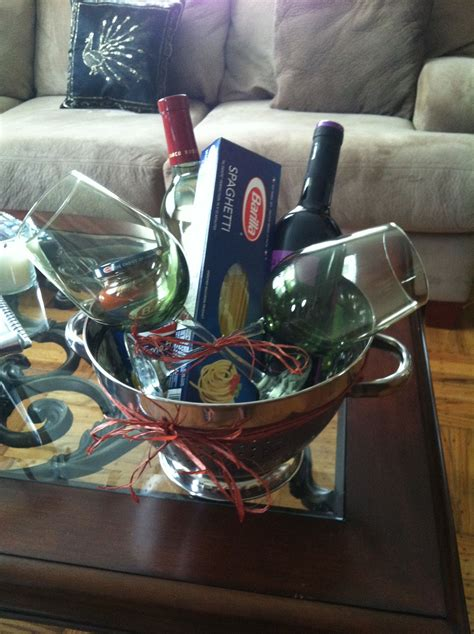 housewarming gift ideas for couple house warming gift for a couple pasta night with wine