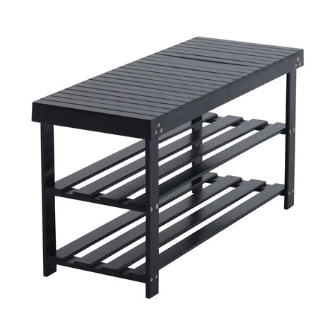 rack bench bamboo wood shoe rack bench black aosom ca