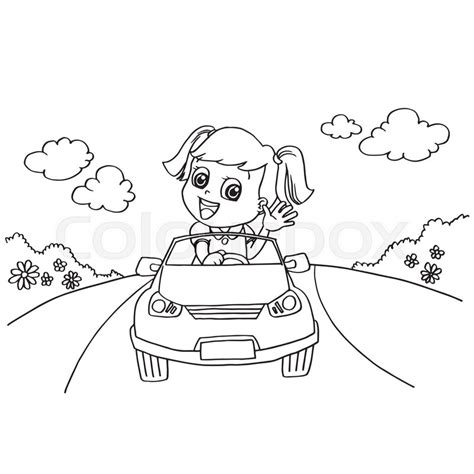 girl car coloring page image of little girl driving a toy car coloring page
