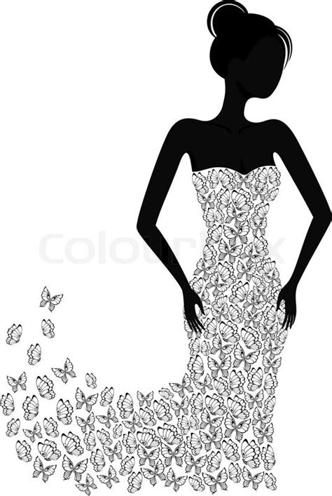 Silhouette of a girl in a flying apart dress   Stock Vector   Colourbox