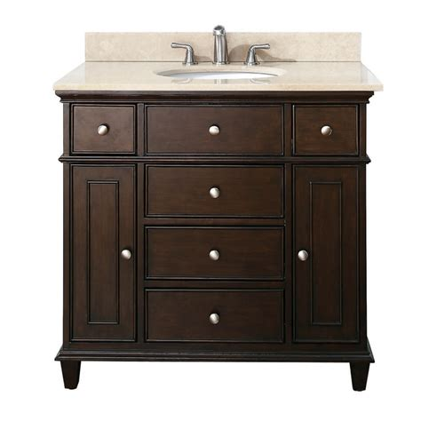 37 inch single bathroom vanity in walnut with a choice of