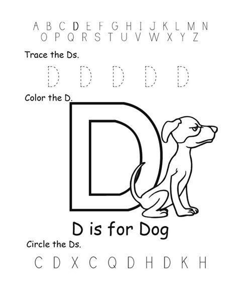 letter d worksheets trace letter d for beginner kiddo shelter 1360