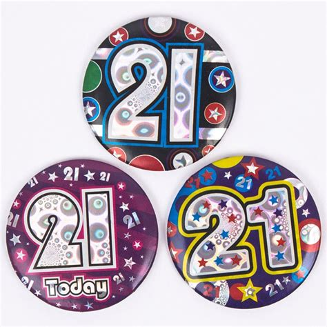 Birthday Card With Badge Holographic Age 21 Small Birthday Badge Only 39p