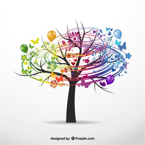 colorful tree colorful tree vector free