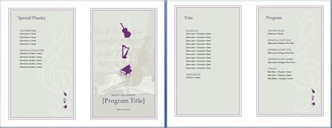 Musical Program Template by Event Program Invitation Template Formal Word