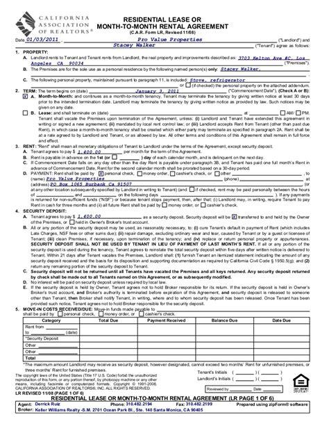 association agreement template california realtor lease