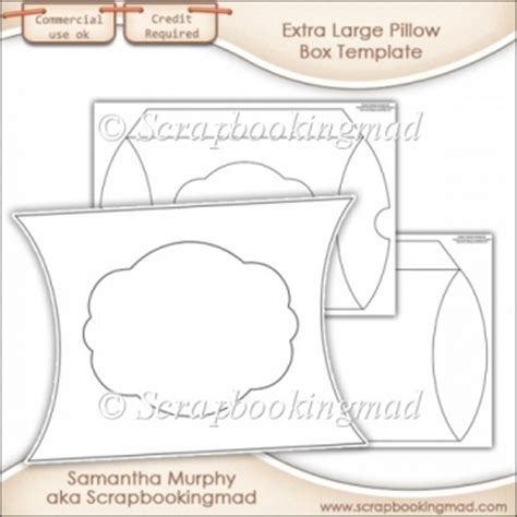 Extra Large Pillow Box Template Commercial Use 163 3 50 Instant Card Making Downloads Large Pillow Box Template