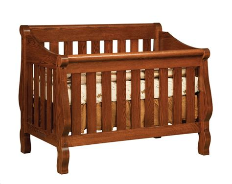 Oak Sleigh Crib by Town Oak Hoosier Sleigh Crib Three Furnishings