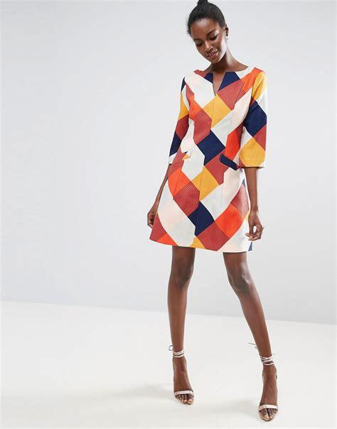 Color Block 3 4 Sleeve Dress colour block 3 4 sleeve skater dress by traffic