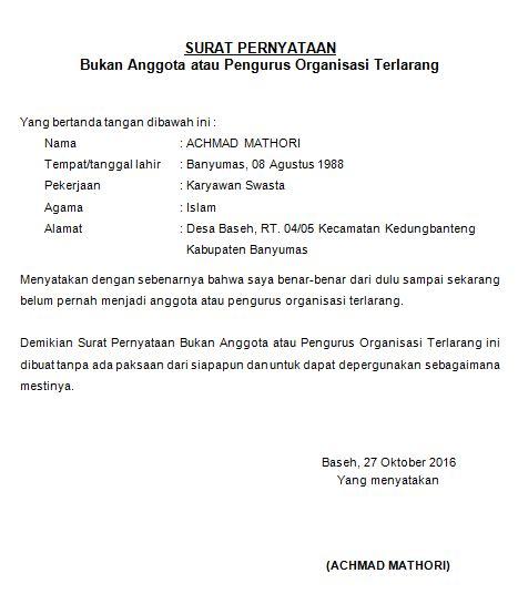 format surat pengunduran diri dari partai politik contoh surat pernyataan bukan anggota atau pengurus