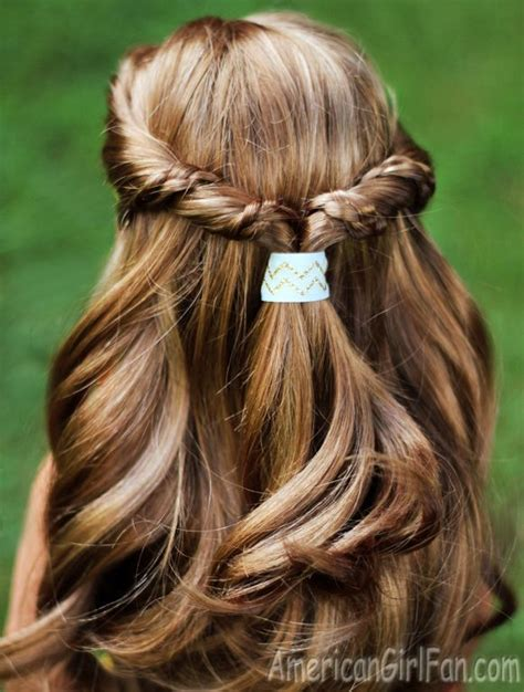 easy half up twist hairstyle with braids for american dolls click through for tutorial