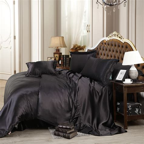 black satin comforter queen black satin silk bedding set queen size 4pcs luxury