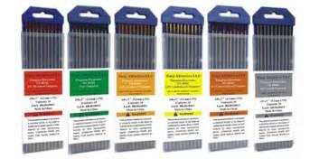 tungsten color code tungsten electrodes