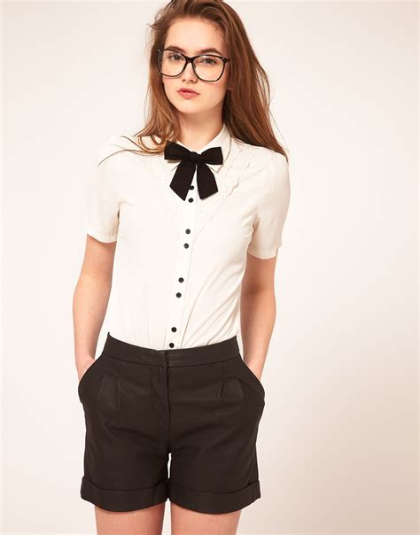 Tas Fasion Walet Hm asos collection asos blouse with broderie anglaise and bow