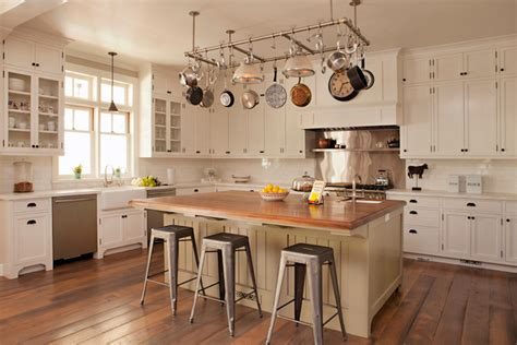 Kitchen Island Pot Rack Above The Island Pot Rack Cottage Kitchen Tim Barber