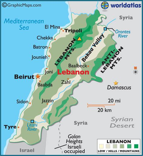 map of lebanon lebanon large color map