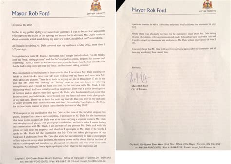 Apology Letter Defamation reporter daniel dale drops libel suit after mayor rob ford