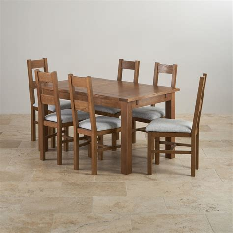 Oak Dining Tables And Chairs Sale Rushmere Dining Set In Rustic Oak Extending Table 6 Chairs