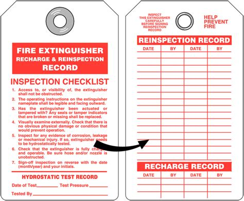 Fire Extinguisher Recharge and Re inspection Tag with