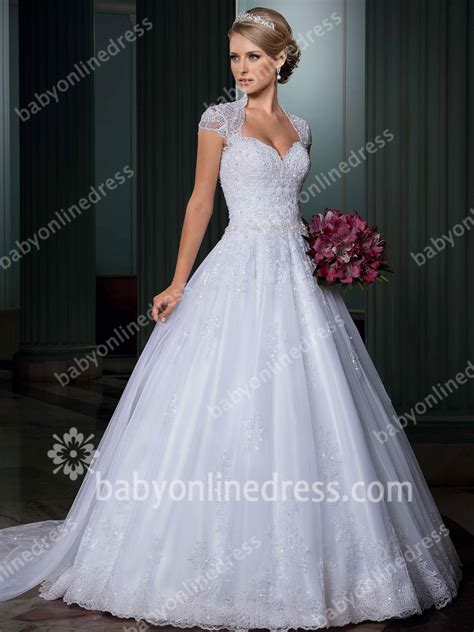 2015 White Wedding Dresses High Neck Cap Sleeve Lace Appliques Sequins Sash A Line Sweep Train