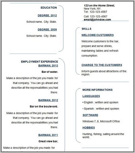 Resume Templates For Wordpad by Resume Templates For Wordpad Template Resume Exles
