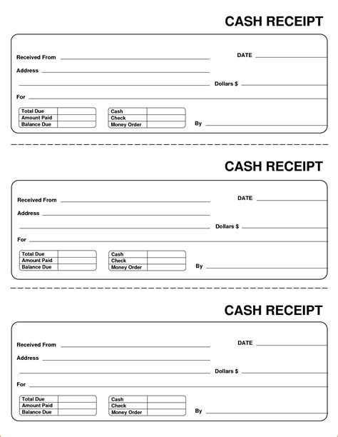 money rent receipt template blank receipts printable receipt